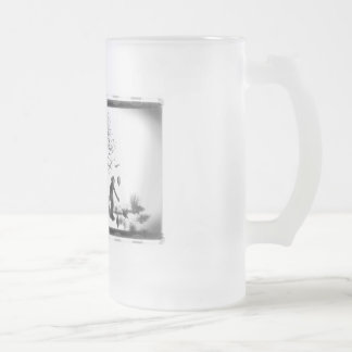 Balloon Clown & Ravens By Creepy Tree - B&W Frosted Glass Beer Mug