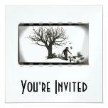"Balloon Clown & Ravens By Creepy Tree - B&W 5.25"" Square Invitation Card"