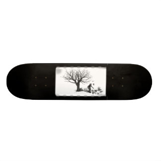 Balloon Clown & Ravens By Creepy Tree - B&W Skateboard Deck