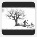 Balloon Clown & Ravens By Creepy Tree - B&W Square Sticker