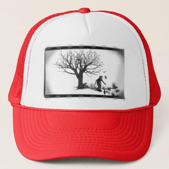 Balloon Clown & Ravens By Creepy Tree - B&W Trucker Hat