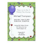"""Balloon & Confetti Invitations 5"""" X 7"""" Invitation Card"""