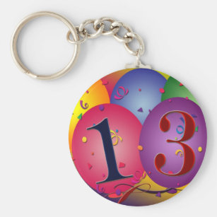 Balloon Decorations For 13th Birthday Keychain