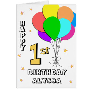 Balloon Filled 1st Birthday Card