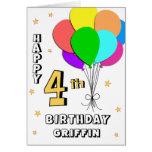 Balloon Filled 4th Birthday Card