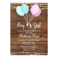 Balloon gender reveal party invitation