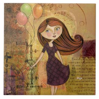 Balloon Girl Digital Collage Decorative Tile