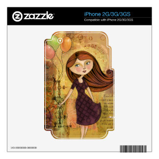 Balloon Girl Digital Collage iPhone 2G/3G Skin Decals For The iPhone 3G