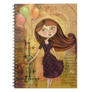 Balloon Girl Digital Collage Notebook