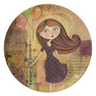 Balloon Girl Digital Collage Plate
