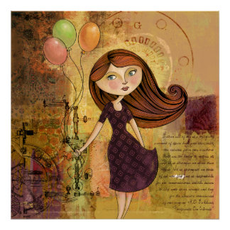 Balloon Girl Digital Collage Poster / Print