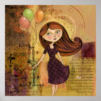 Balloon Girl Digital Collage Poster / Print