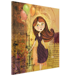 Balloon Girl Digital Collage Wrapped Canvas Print