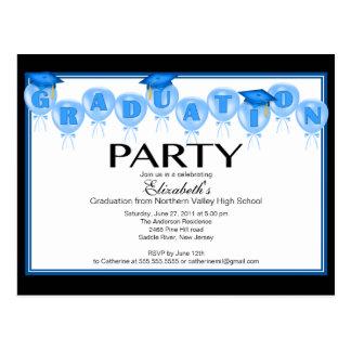 Balloon Graduation Party Invitation Blue Grad Cap Postcard
