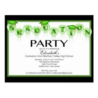 Balloon Graduation Party Invitation Green Cap Postcard