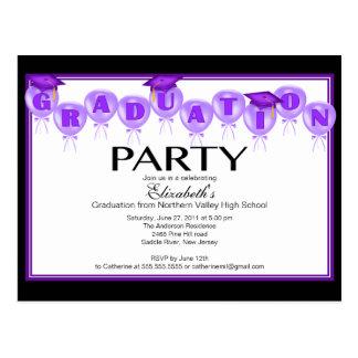 Balloon Graduation Party Invitation Purple Cap Postcard