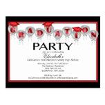 Balloon Graduation Party Invitation Red Grad Cap Postcard