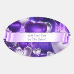 Balloon Hearts Customizable Oval Stickers
