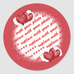 Balloon Hearts with Little Hearts Photo Frame Classic Round Sticker
