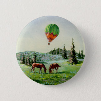 BALLOON & HORSES by SHARON SHARPE Button