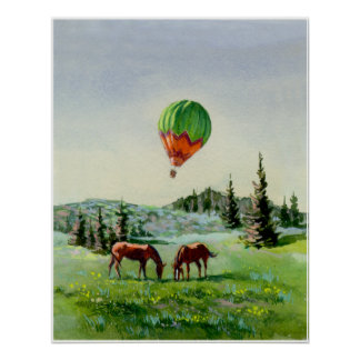 BALLOON & HORSES by SHARON SHARPE Poster