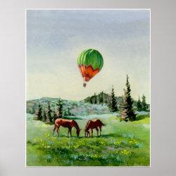 BALLOON & HORSES by SHARON SHARPE Print