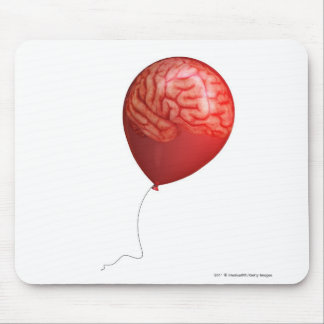 Balloon illustration with a superimposed brain mouse pad
