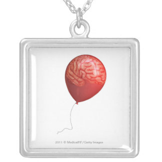 Balloon illustration with a superimposed brain necklace