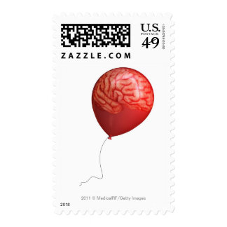Balloon illustration with a superimposed brain stamp