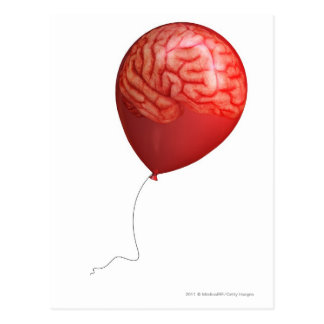 Balloon illustration with a superimposed brain postcard