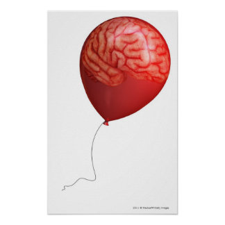 Balloon illustration with a superimposed brain poster