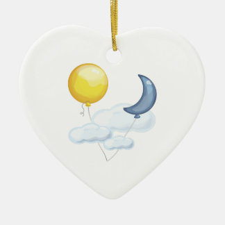 Balloon In Sky Double-Sided Heart Ceramic Christmas Ornament