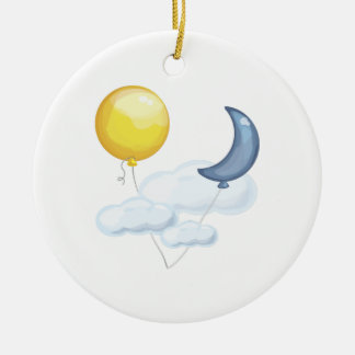 Balloon In Sky Double-Sided Ceramic Round Christmas Ornament