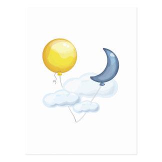 Balloon In Sky Post Card