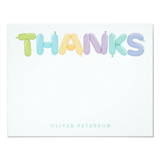 Balloon Letters Thank You Notes 4.25x5.5 Paper Invitation Card