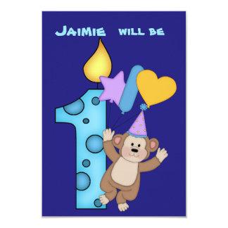 Balloon Monkey 1st Birthday Party Invitation