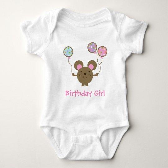 Balloon Mouse Birthday Girl Baby Creeper