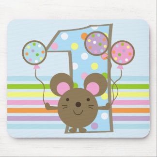 Balloon Mouse Blue 1st Birthday Mouse Pad
