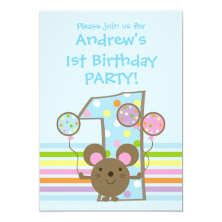 "Balloon Mouse Blue 1st Birthday Party Invitation 5"" X 7"" Invitation Card"