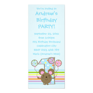 "Balloon Mouse Blue 1st Birthday Party Invitation 4"" X 9.25"" Invitation Card"