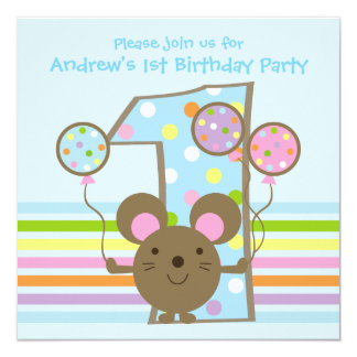 Balloon Mouse Blue 1st Birthday Party 5.25x5.25 Square Paper Invitation Card