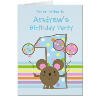 Balloon Mouse Blue 1st Birthday Party Invitation Card