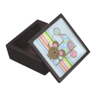 Balloon Mouse Blue 1st Birthday Premium Jewelry Box
