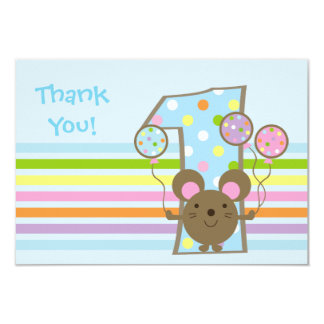 "Balloon Mouse Blue 1st Birthday Thank You Card 3.5"" X 5"" Invitation Card"