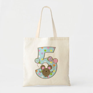 Balloon Mouse Blue 5th Birthday Bag