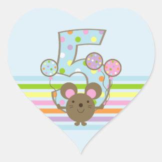 Balloon Mouse Blue 5th Birthday Heart Sticker