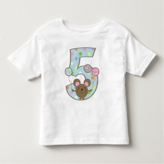 Balloon Mouse Blue 5th Birthday T-Shirt