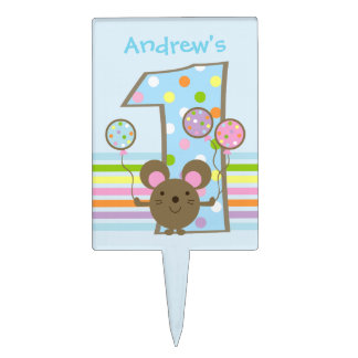 Balloon Mouse Blue Happy 1st Birthday Cake Topper
