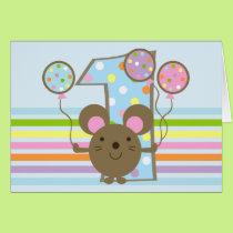 Balloon Mouse Blue Happy 1st Birthday Card