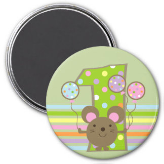 Balloon Mouse Green 1st Birthday Round Magnet